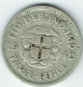 George VI, Silver (.500), Threepence 1942 (For Colonial Use), F, M6423